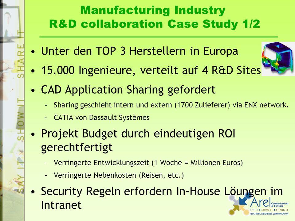 Manufacturing Industry R&D collaboration Case Study 1/2 Unter den TOP 3 Herstellern in Europa 15.000 Ingenieure, verteilt auf 4 R&D Sites CAD Application Sharing gefordert –Sharing geschieht intern und extern (1700 Zulieferer) via ENX network.