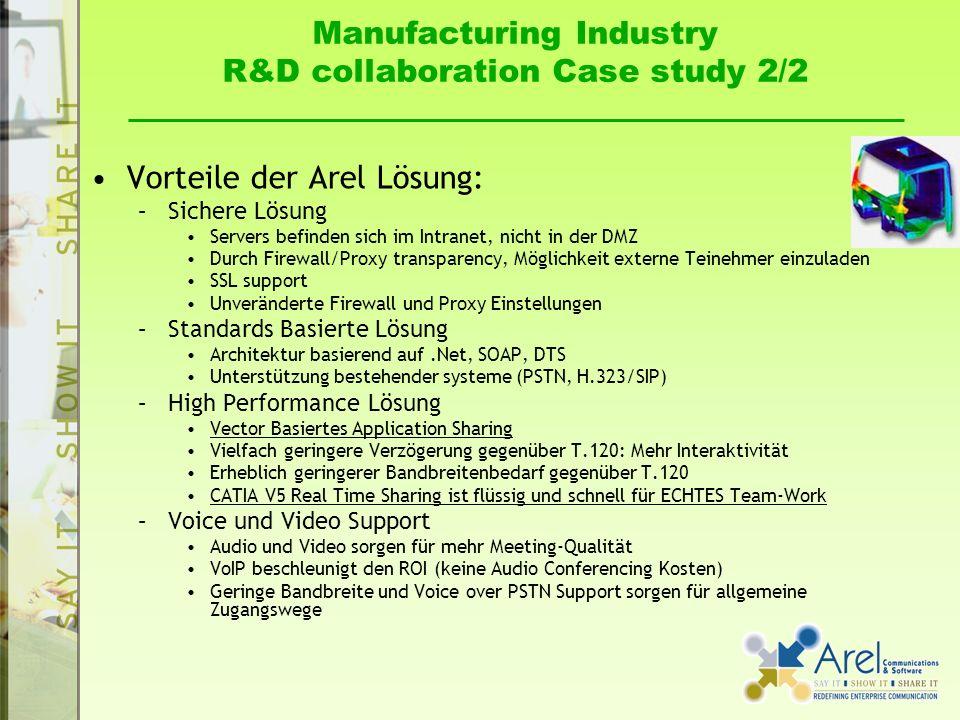 Manufacturing Industry R&D collaboration Case study 2/2 Vorteile der Arel Lösung: –Sichere Lösung Servers befinden sich im Intranet, nicht in der DMZ