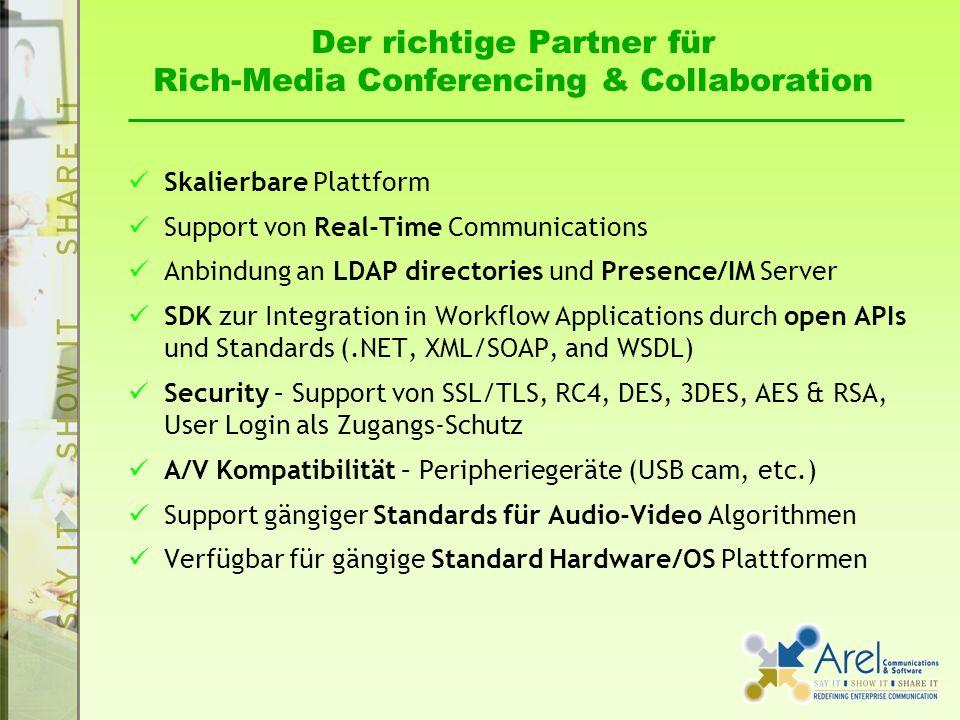Der richtige Partner für Rich-Media Conferencing & Collaboration Skalierbare Plattform Support von Real-Time Communications Anbindung an LDAP directories und Presence/IM Server SDK zur Integration in Workflow Applications durch open APIs und Standards (.NET, XML/SOAP, and WSDL) Security – Support von SSL/TLS, RC4, DES, 3DES, AES & RSA, User Login als Zugangs-Schutz A/V Kompatibilität – Peripheriegeräte (USB cam, etc.) Support gängiger Standards für Audio-Video Algorithmen Verfügbar für gängige Standard Hardware/OS Plattformen