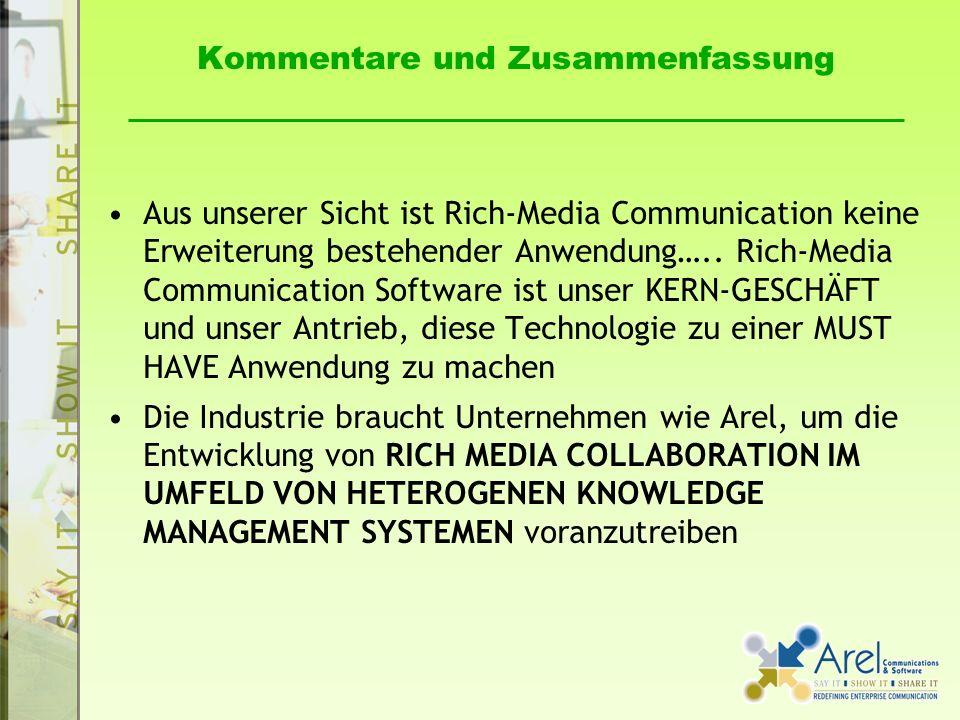 Kommentare und Zusammenfassung Aus unserer Sicht ist Rich-Media Communication keine Erweiterung bestehender Anwendung….. Rich-Media Communication Soft