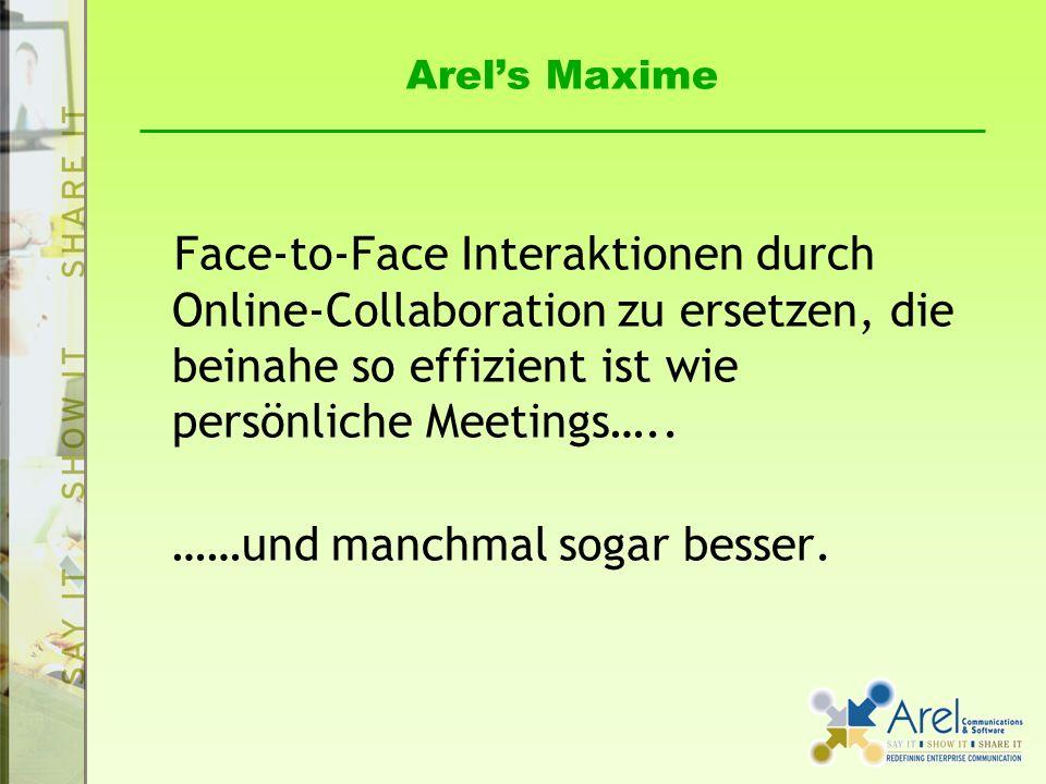 Arels Maxime Face-to-Face Interaktionen durch Online-Collaboration zu ersetzen, die beinahe so effizient ist wie persönliche Meetings…..