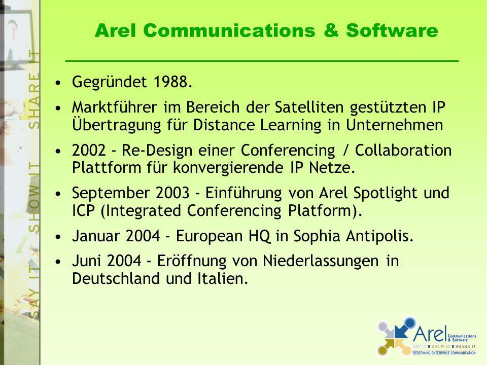Arel Communications & Software Gegründet 1988. Marktführer im Bereich der Satelliten gestützten IP Übertragung für Distance Learning in Unternehmen 20