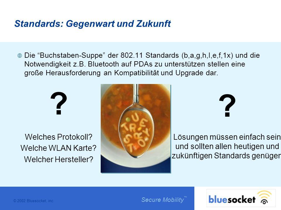 © 2002 Bluesocket, inc. Secure Mobility Standards: Gegenwart und Zukunft Die Buchstaben-Suppe der 802.11 Standards (b,a,g,h,I,e,f,1x) und die Notwendi