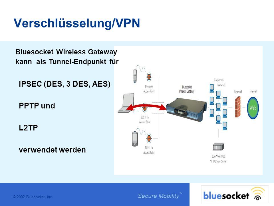 © 2002 Bluesocket, inc. Secure Mobility Verschlüsselung/VPN Bluesocket Wireless Gateway kann als Tunnel-Endpunkt für IPSEC (DES, 3 DES, AES) PPTP und