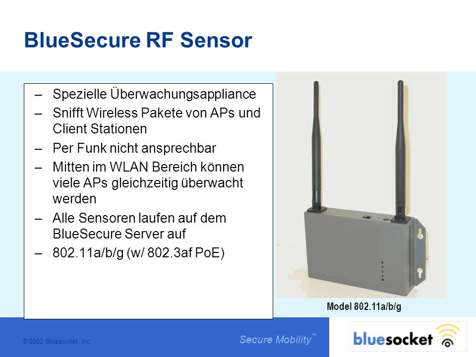 © 2002 Bluesocket, inc. Secure Mobility Model 802.11a/b/g BlueSecure RF Sensor –Spezielle Überwachungsappliance –Snifft Wireless Pakete von APs und Cl