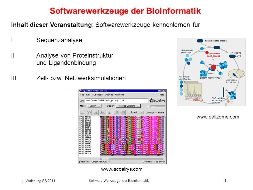 1. Vorlesung SS 2011 Software-Werkzeuge der Bioinformatik1 Softwarewerkzeuge der Bioinformatik Inhalt dieser Veranstaltung: Softwarewerkzeuge kennenle