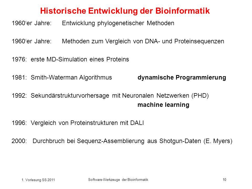 1. Vorlesung SS 2011 Software-Werkzeuge der Bioinformatik10 Historische Entwicklung der Bioinformatik 1960er Jahre:Entwicklung phylogenetischer Method
