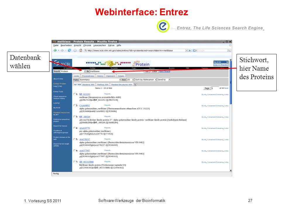 1. Vorlesung SS 2011 Software-Werkzeuge der Bioinformatik27 Datenbank wählen Stichwort, hier Name des Proteins Webinterface: Entrez