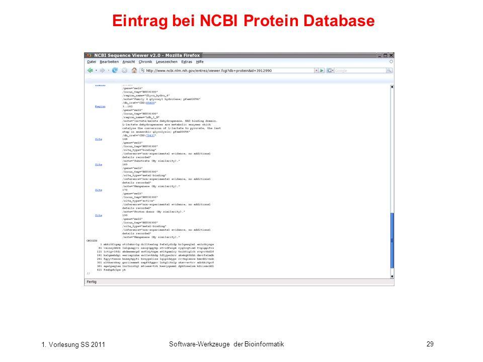 1. Vorlesung SS 2011 Software-Werkzeuge der Bioinformatik29 Eintrag bei NCBI Protein Database