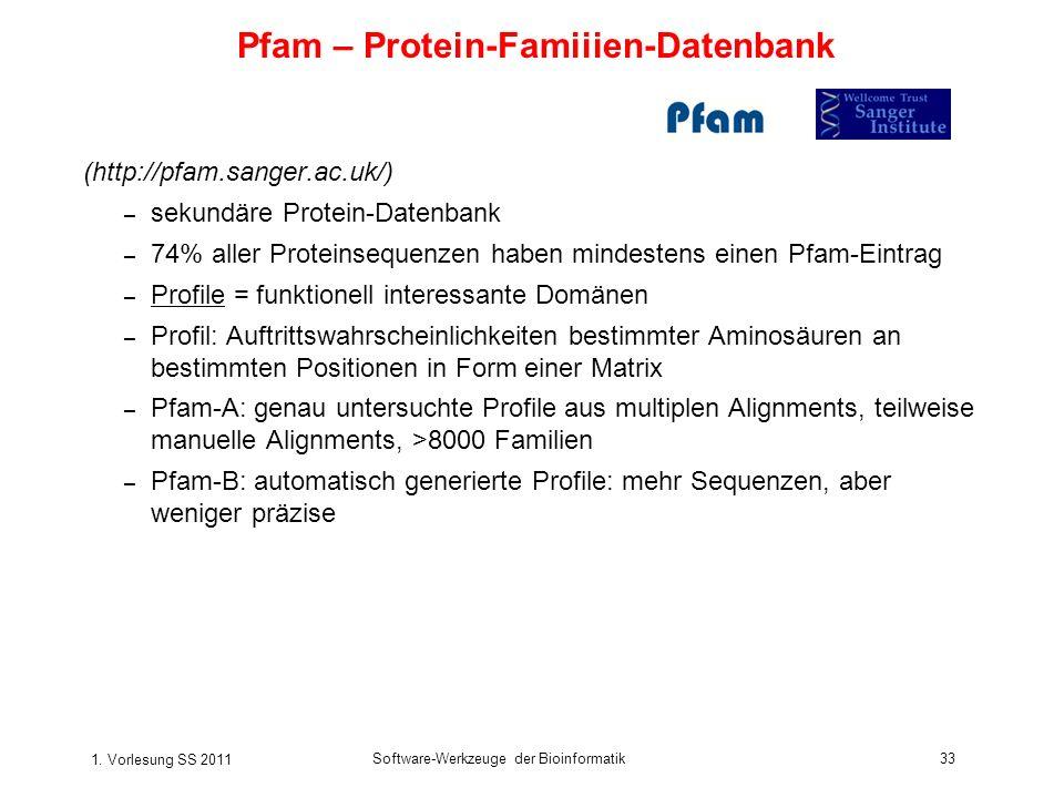 1. Vorlesung SS 2011 Software-Werkzeuge der Bioinformatik33 (http://pfam.sanger.ac.uk/) – sekundäre Protein-Datenbank – 74% aller Proteinsequenzen hab