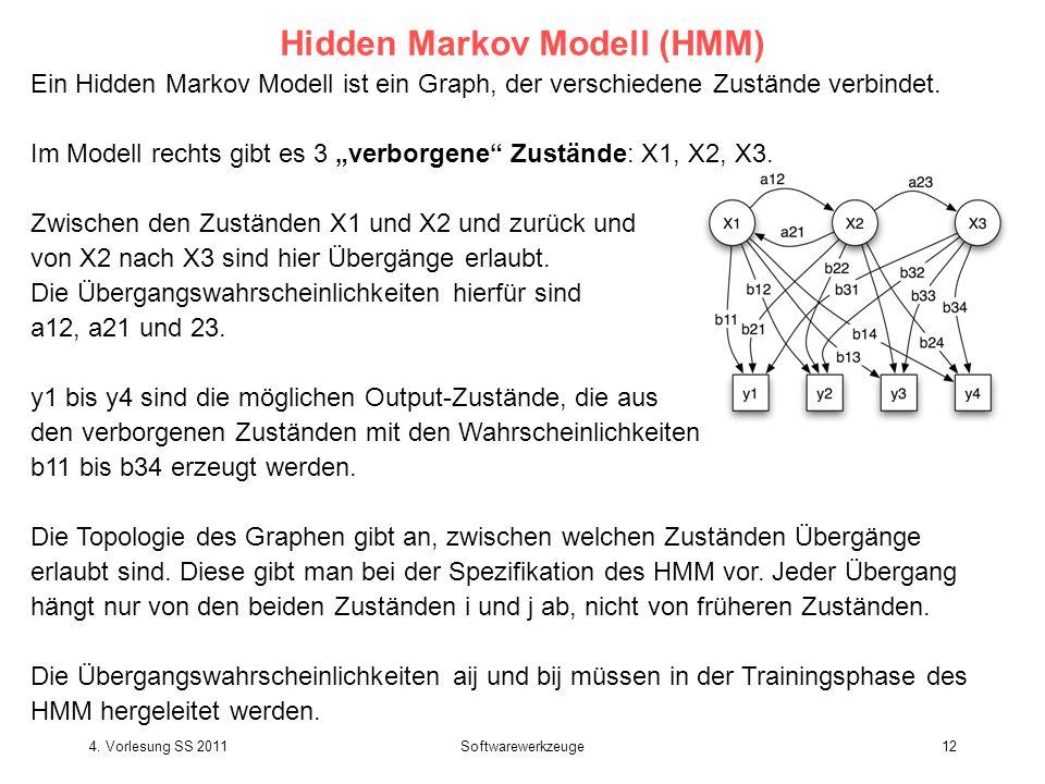 Ein Hidden Markov Modell ist ein Graph, der verschiedene Zustände verbindet. Im Modell rechts gibt es 3 verborgene Zustände: X1, X2, X3. Zwischen den