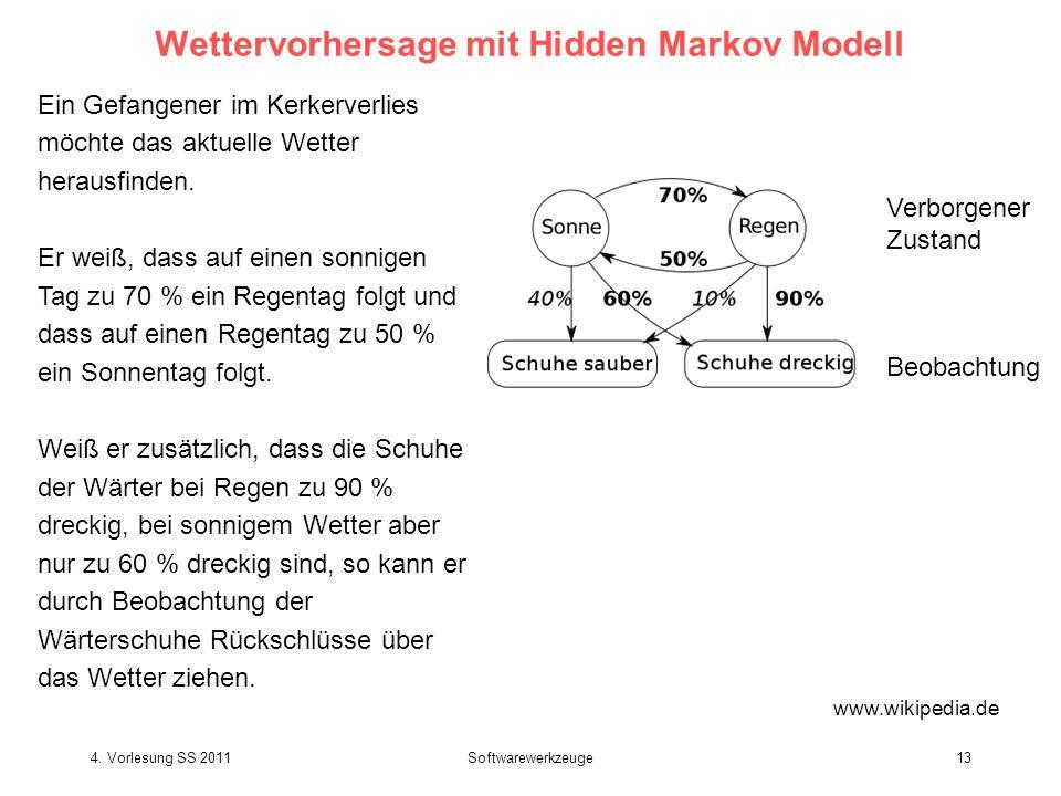 4. Vorlesung SS 2011Softwarewerkzeuge13 Wettervorhersage mit Hidden Markov Modell Ein Gefangener im Kerkerverlies möchte das aktuelle Wetter herausfin
