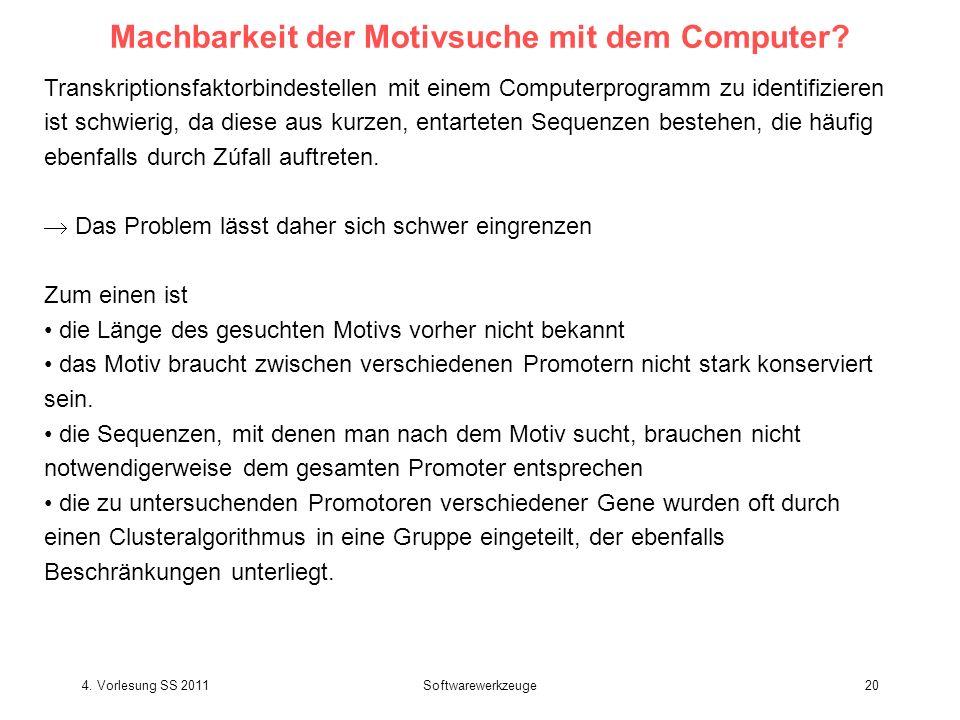 4. Vorlesung SS 2011Softwarewerkzeuge20 Machbarkeit der Motivsuche mit dem Computer? Transkriptionsfaktorbindestellen mit einem Computerprogramm zu id