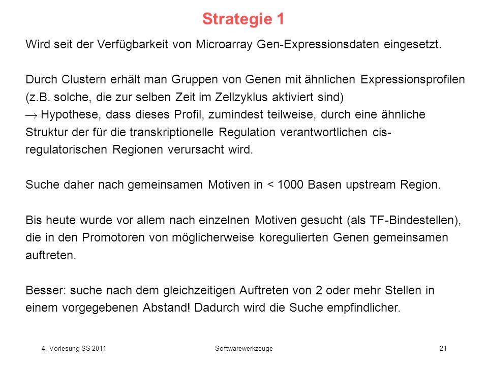 4. Vorlesung SS 2011Softwarewerkzeuge21 Strategie 1 Wird seit der Verfügbarkeit von Microarray Gen-Expressionsdaten eingesetzt. Durch Clustern erhält