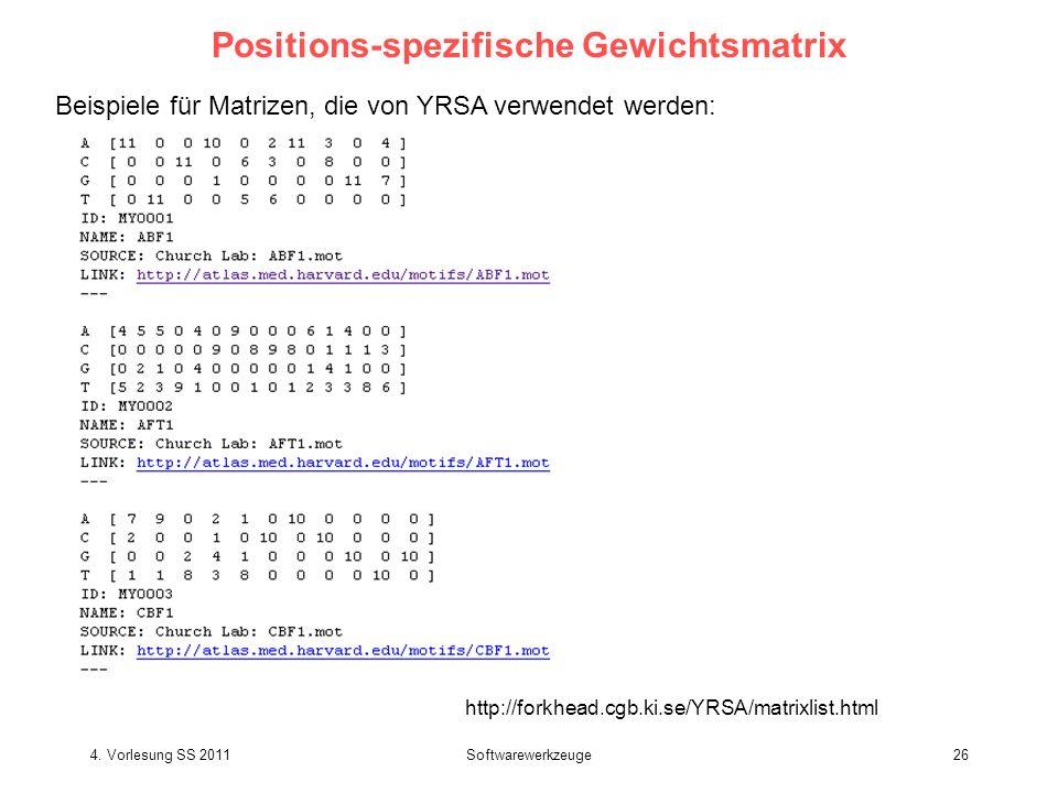4. Vorlesung SS 2011Softwarewerkzeuge26 Positions-spezifische Gewichtsmatrix Beispiele für Matrizen, die von YRSA verwendet werden: http://forkhead.cg