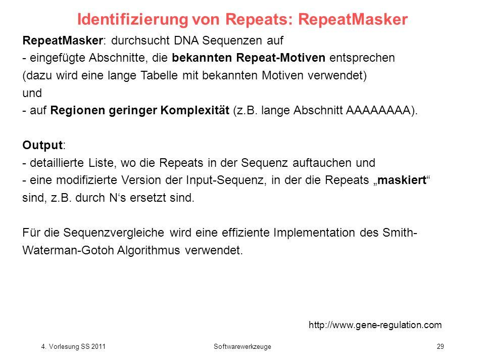 4. Vorlesung SS 2011Softwarewerkzeuge29 Identifizierung von Repeats: RepeatMasker http://www.gene-regulation.com RepeatMasker: durchsucht DNA Sequenze