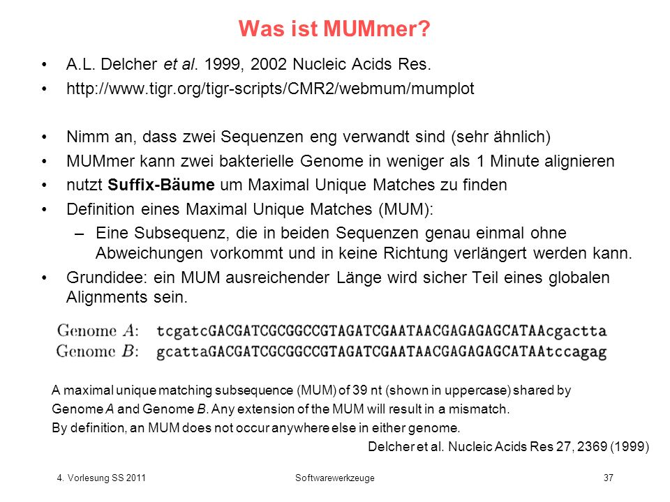 4.Vorlesung SS 2011Softwarewerkzeuge37 Was ist MUMmer.
