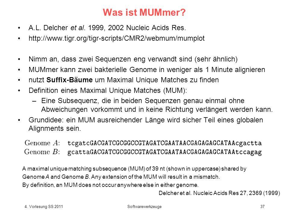 4. Vorlesung SS 2011Softwarewerkzeuge37 Was ist MUMmer? A.L. Delcher et al. 1999, 2002 Nucleic Acids Res. http://www.tigr.org/tigr-scripts/CMR2/webmum