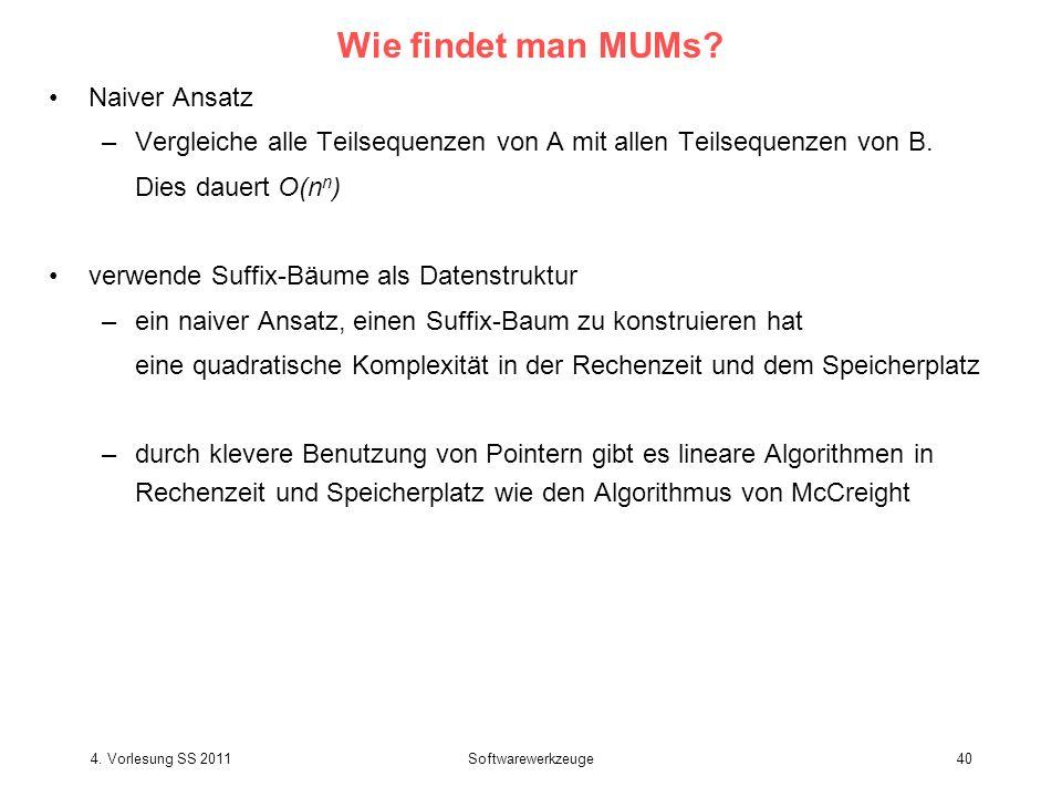 4.Vorlesung SS 2011Softwarewerkzeuge40 Wie findet man MUMs.