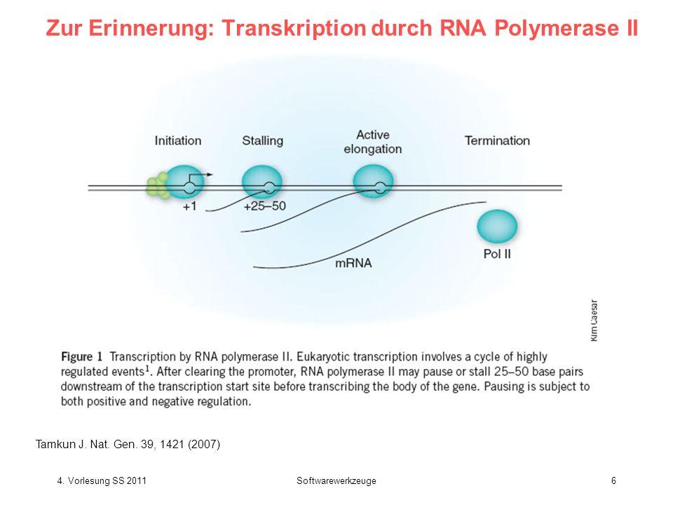 Zur Erinnerung: Transkription durch RNA Polymerase II Tamkun J. Nat. Gen. 39, 1421 (2007) 4. Vorlesung SS 2011Softwarewerkzeuge6