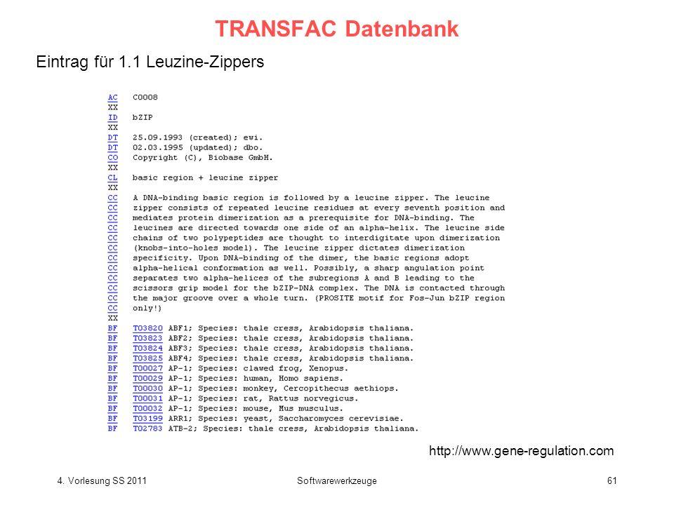 4. Vorlesung SS 2011Softwarewerkzeuge61 TRANSFAC Datenbank Eintrag für 1.1 Leuzine-Zippers http://www.gene-regulation.com