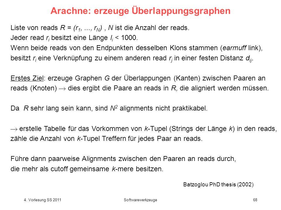 4. Vorlesung SS 2011Softwarewerkzeuge68 Arachne: erzeuge Überlappungsgraphen Liste von reads R = (r 1,..., r N ), N ist die Anzahl der reads. Jeder re