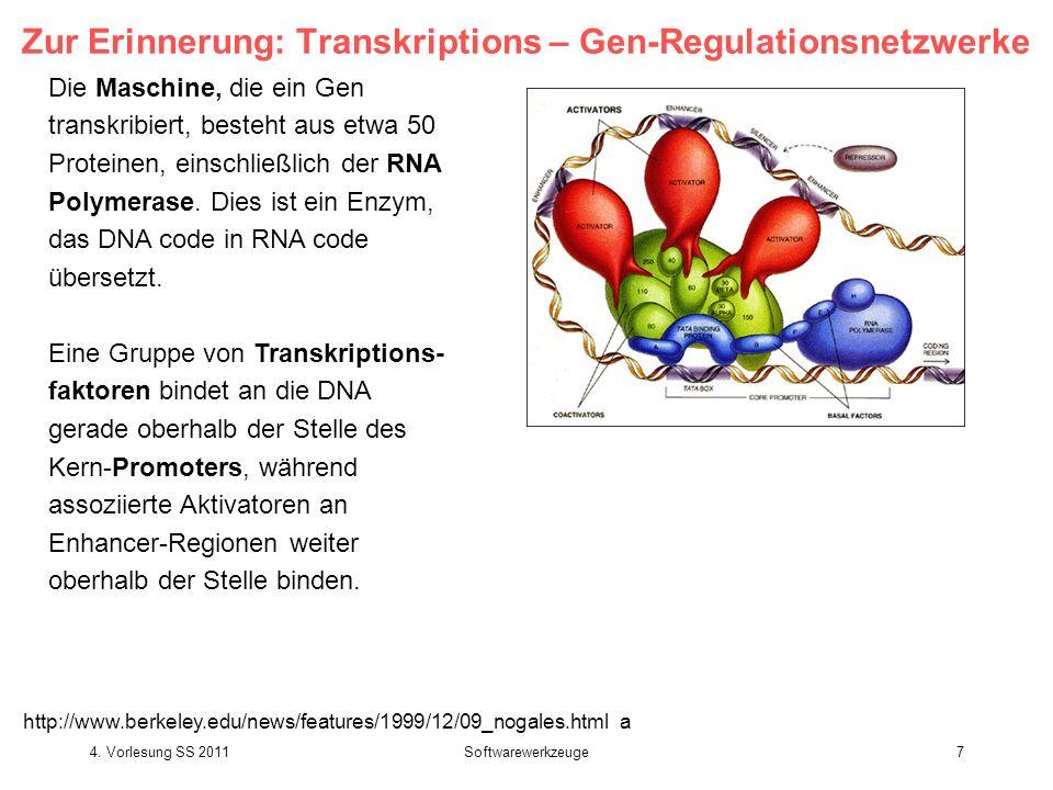 4. Vorlesung SS 2011Softwarewerkzeuge7 Zur Erinnerung: Transkriptions – Gen-Regulationsnetzwerke Die Maschine, die ein Gen transkribiert, besteht aus