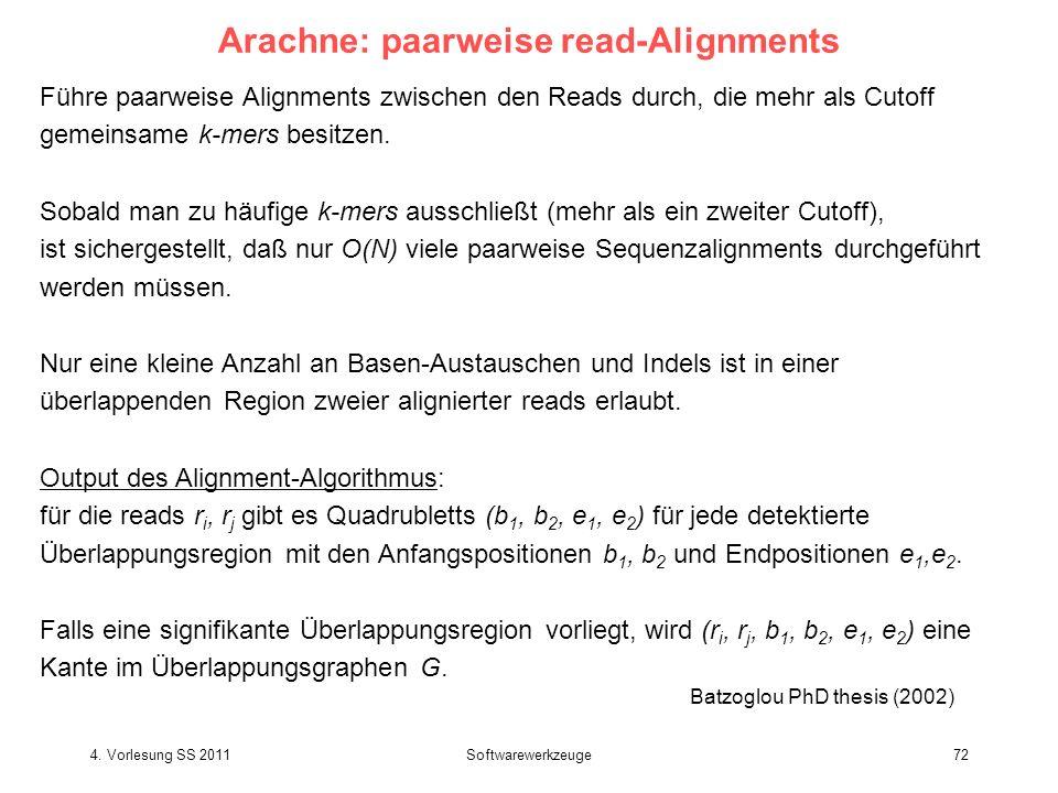 4. Vorlesung SS 2011Softwarewerkzeuge72 Arachne: paarweise read-Alignments Führe paarweise Alignments zwischen den Reads durch, die mehr als Cutoff ge