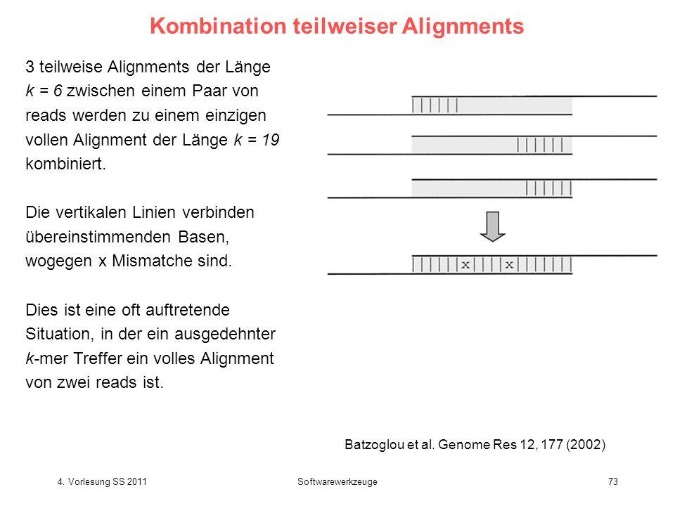 4. Vorlesung SS 2011Softwarewerkzeuge73 Kombination teilweiser Alignments 3 teilweise Alignments der Länge k = 6 zwischen einem Paar von reads werden