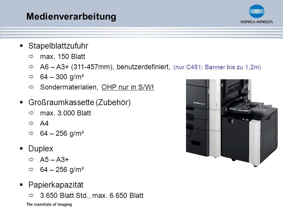 Medienverarbeitung Stapelblattzufuhr max. 150 Blatt A6 – A3+ (311-457mm), benutzerdefiniert, (nur C451: Banner bis zu 1,2m) 64 – 300 g/m² Sondermateri