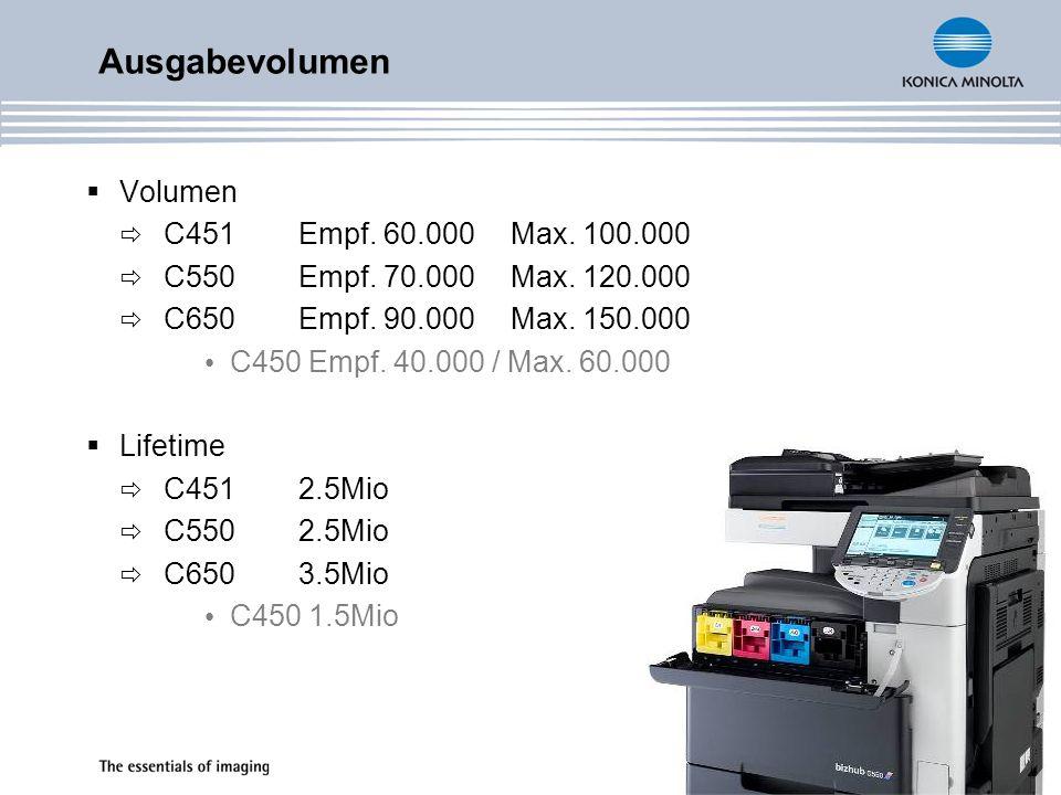 Ausgabevolumen Volumen C451Empf. 60.000Max. 100.000 C550Empf. 70.000Max. 120.000 C650Empf. 90.000Max. 150.000 C450 Empf. 40.000 / Max. 60.000 Lifetime