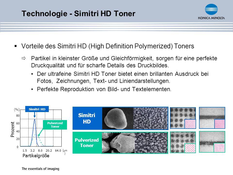 Technologie - Simitri HD Toner Vorteile des Simitri HD (High Definition Polymerized) Toners Partikel in kleinster Größe und Gleichförmigkeit, sorgen für eine perfekte Druckqualität und für scharfe Details des Druckbildes.