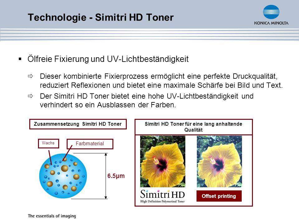 Technologie - Simitri HD Toner Ölfreie Fixierung und UV-Lichtbeständigkeit Dieser kombinierte Fixierprozess ermöglicht eine perfekte Druckqualität, reduziert Reflexionen und bietet eine maximale Schärfe bei Bild und Text.
