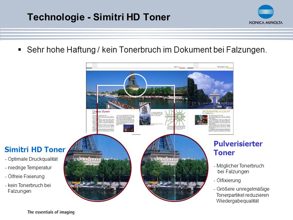 Technologie - Simitri HD Toner Sehr hohe Haftung / kein Tonerbruch im Dokument bei Falzungen. Pulverisierter Toner Simitri HD Toner - Optimale Druckqu