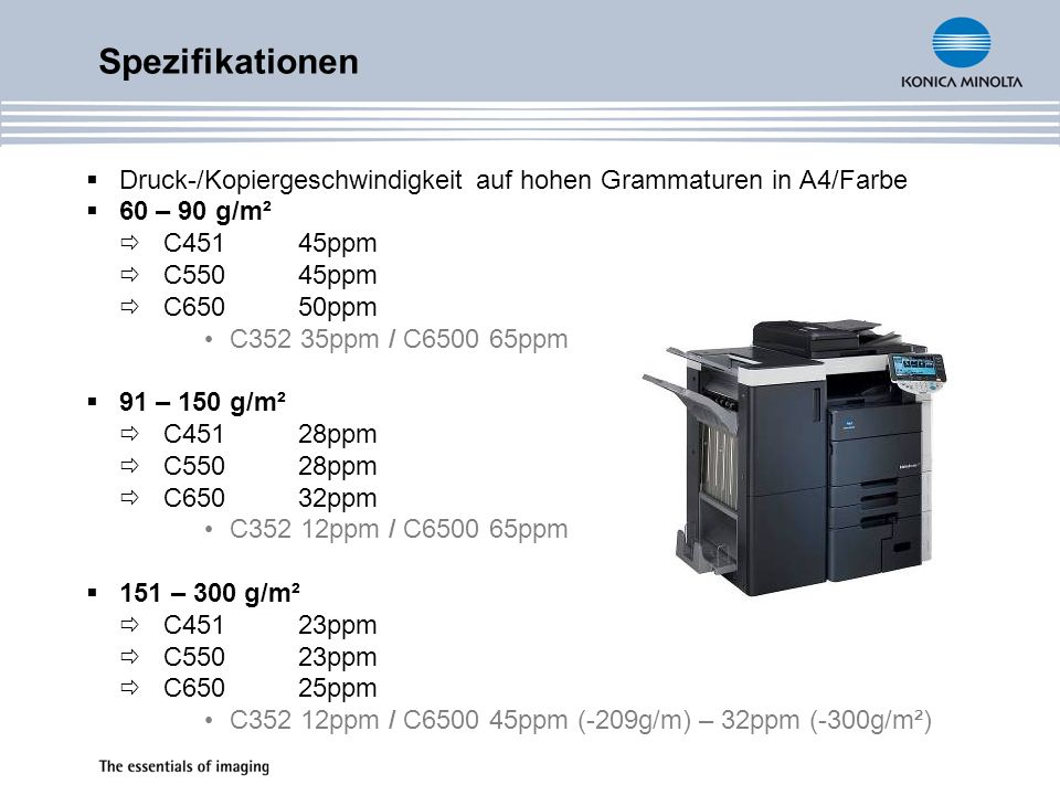 Druck-/Kopiergeschwindigkeit auf hohen Grammaturen in A4/Farbe 60 – 90 g/m² C45145ppm C55045ppm C65050ppm C352 35ppm / C6500 65ppm 91 – 150 g/m² C4512