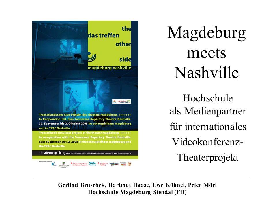 Magdeburg meets Nashville Hochschule als Medienpartner für internationales Videokonferenz- Theaterprojekt Gerlind Bruschek, Hartmut Haase, Uwe Kühnel,