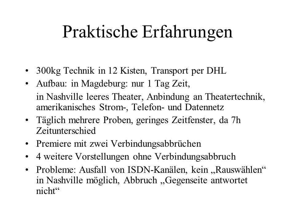 Praktische Erfahrungen 300kg Technik in 12 Kisten, Transport per DHL Aufbau: in Magdeburg: nur 1 Tag Zeit, in Nashville leeres Theater, Anbindung an T