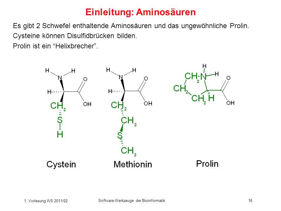 1. Vorlesung WS 2011/02 Software-Werkzeuge der Bioinformatik16 Es gibt 2 Schwefel enthaltende Aminosäuren und das ungewöhnliche Prolin. Cysteine könne