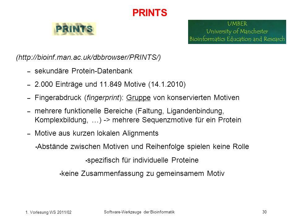 1. Vorlesung WS 2011/02 Software-Werkzeuge der Bioinformatik30 (http://bioinf.man.ac.uk/dbbrowser/PRINTS/) – sekundäre Protein-Datenbank – 2.000 Eintr