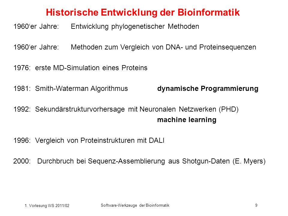 1. Vorlesung WS 2011/02 Software-Werkzeuge der Bioinformatik9 Historische Entwicklung der Bioinformatik 1960er Jahre:Entwicklung phylogenetischer Meth