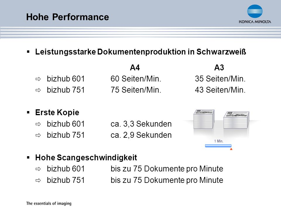 Leistungsstarke Dokumentenproduktion in Schwarzweiß A4 A3 bizhub 601 60 Seiten/Min. 35 Seiten/Min. bizhub 751 75 Seiten/Min. 43 Seiten/Min. Erste Kopi
