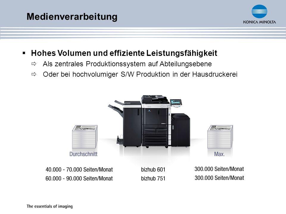 Medienverarbeitung Hohes Volumen und effiziente Leistungsfähigkeit Als zentrales Produktionssystem auf Abteilungsebene Oder bei hochvolumiger S/W Prod