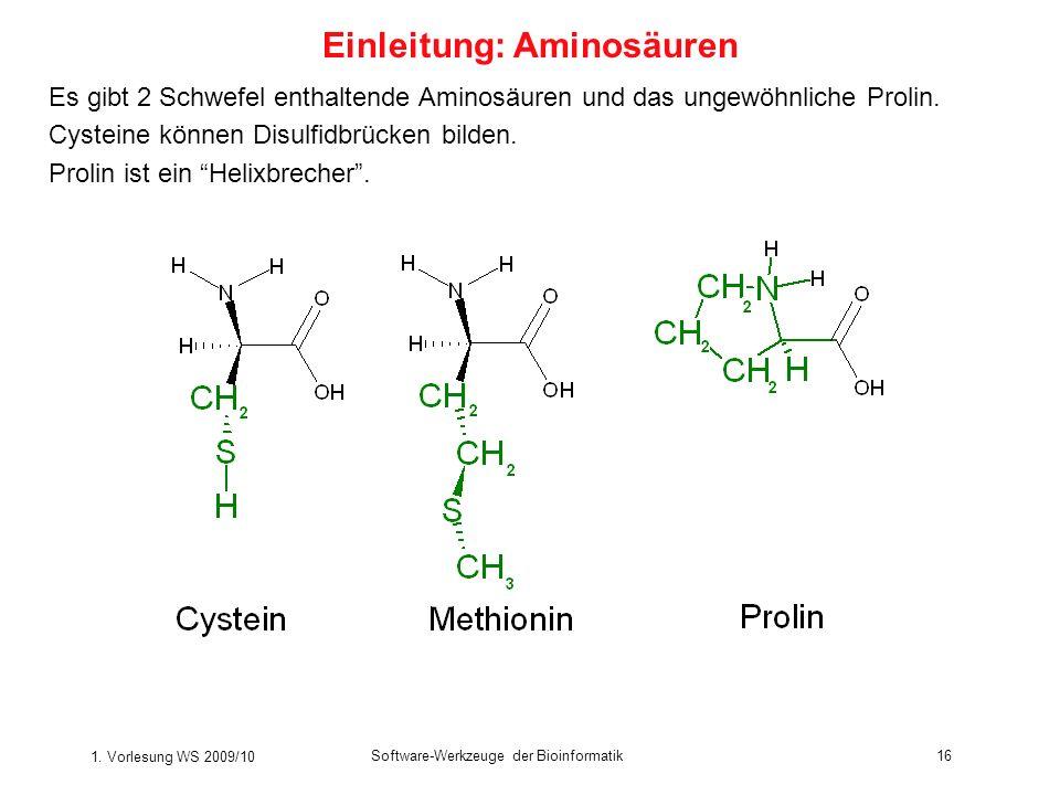 1. Vorlesung WS 2009/10 Software-Werkzeuge der Bioinformatik16 Es gibt 2 Schwefel enthaltende Aminosäuren und das ungewöhnliche Prolin. Cysteine könne