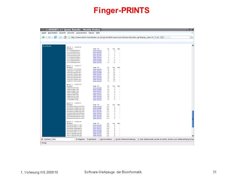 1. Vorlesung WS 2009/10 Software-Werkzeuge der Bioinformatik31 Finger-PRINTS