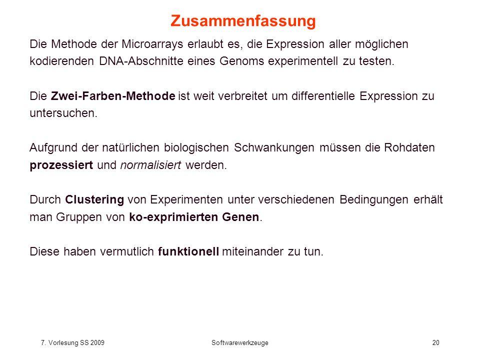 7. Vorlesung SS 2009Softwarewerkzeuge20 Zusammenfassung Die Methode der Microarrays erlaubt es, die Expression aller möglichen kodierenden DNA-Abschni