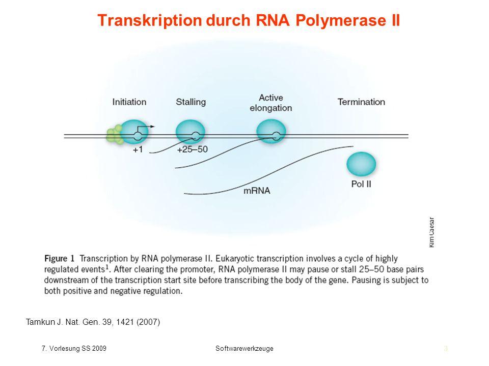 7. Vorlesung SS 2009Softwarewerkzeuge33 Transkription durch RNA Polymerase II Tamkun J. Nat. Gen. 39, 1421 (2007)