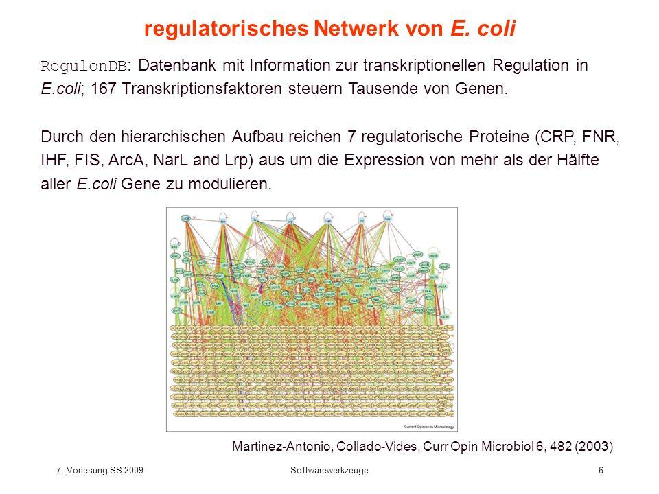 7. Vorlesung SS 2009Softwarewerkzeuge6 regulatorisches Netwerk von E. coli RegulonDB : Datenbank mit Information zur transkriptionellen Regulation in