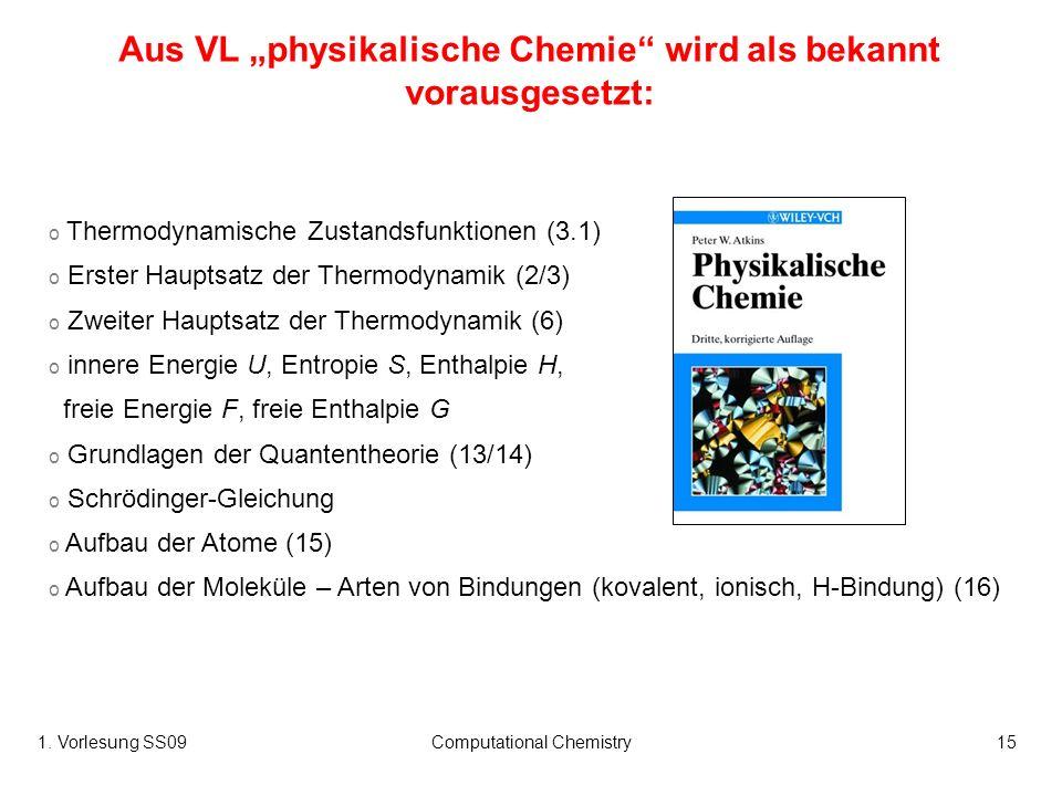 1. Vorlesung SS09Computational Chemistry15 o Thermodynamische Zustandsfunktionen (3.1) o Erster Hauptsatz der Thermodynamik (2/3) o Zweiter Hauptsatz