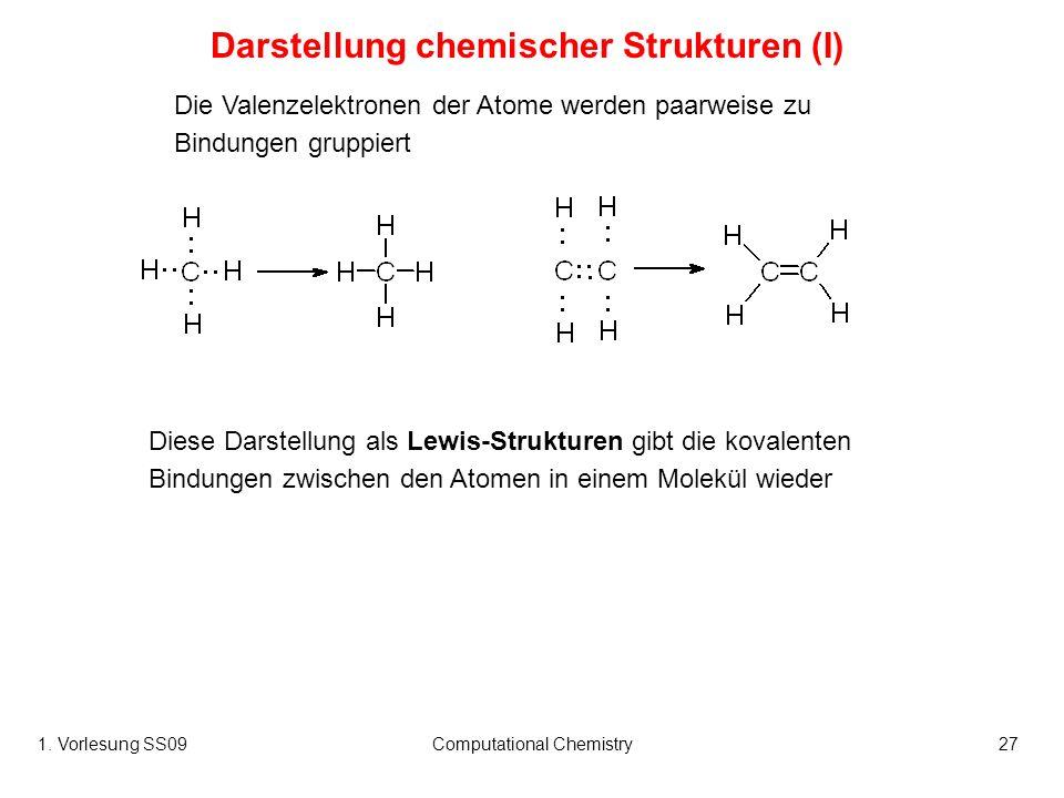 1. Vorlesung SS09Computational Chemistry27 Die Valenzelektronen der Atome werden paarweise zu Bindungen gruppiert Diese Darstellung als Lewis-Struktur