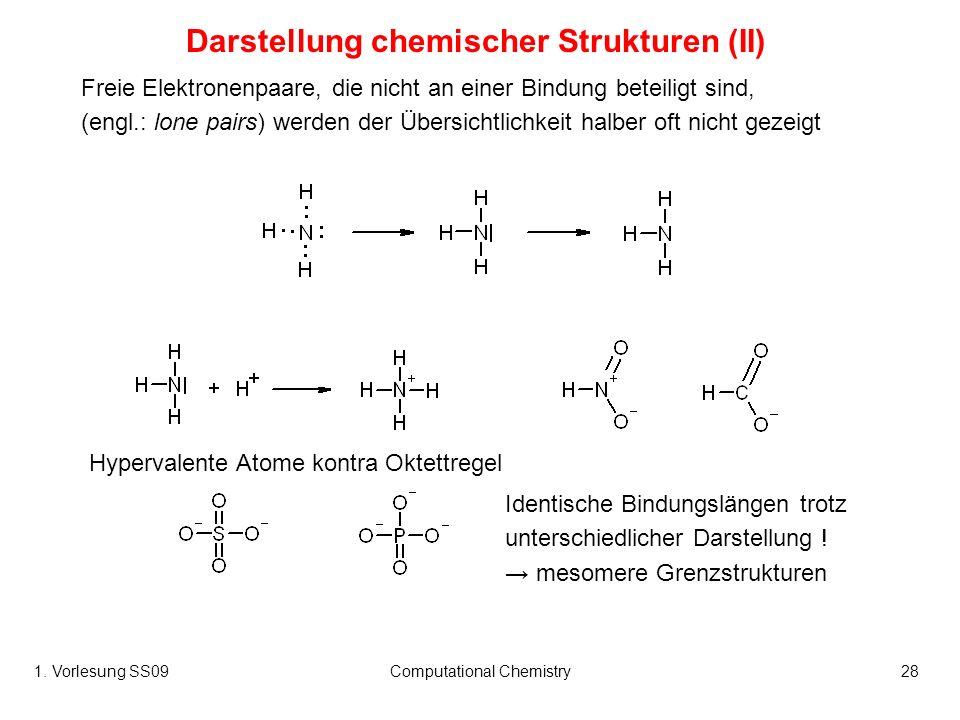 1. Vorlesung SS09Computational Chemistry28 Hypervalente Atome kontra Oktettregel Freie Elektronenpaare, die nicht an einer Bindung beteiligt sind, (en